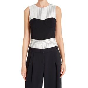 TIBI Cecil cropped striped crepe wide-leg pants